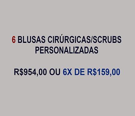 6 Blusas Cirúrgicas/Scrubs Personalizadas