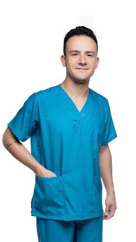 Blusa cirúrgica/Scrub Liso 001 Ganha 1 Máscara e Nome/Profissão