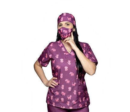 Blusa cirúrgica/Scrub VM037CG. Ganha 1 Mascara e Nome/Profissão