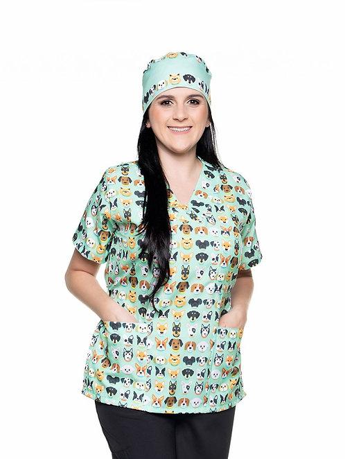 Blusa cirúrgica/Scrub VM025C Ganha 1 Mascara e Nome/Profissão