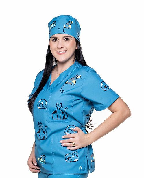 Blusa cirúrgica/Scrub VM026G Ganha 1 Mascara e Nome/Profissão