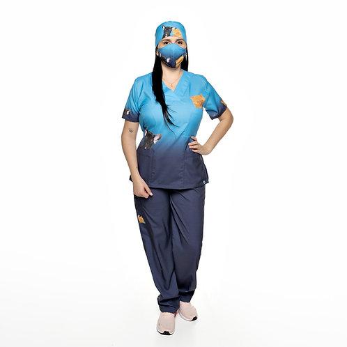 Conjunto (Blusa e Calça) 050CG. Ganha 1 Mascara e Nome/Profissão