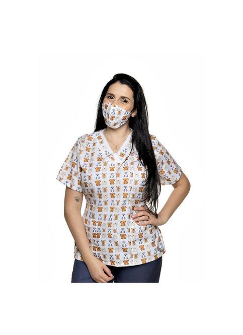 Blusa cirúrgica/Scrub VM007C Ganha 1 Mascara e Nome/Profissão