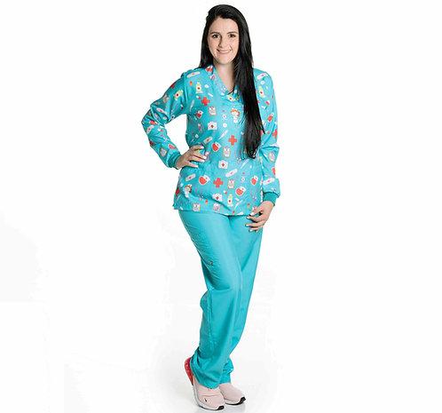 Conjunto Hospitalar VM05 (Blusa e Calça) Ganha 1 Mascara e Nome/Profissão