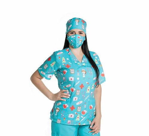 Blusa Cirúrgica/Scrub VM04 Ganha 1 Mascara e Nome/Profissão