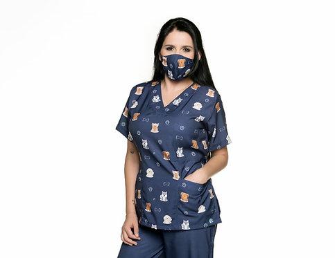 Blusa cirúrgica/Scrub VM033C Ganha 1 Mascara e Nome/Profissão