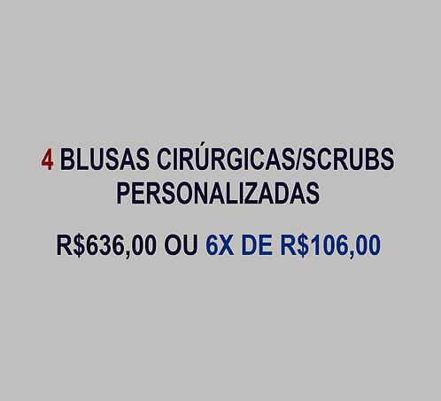4 Blusas Cirúrgica/Scrubs Personalizadas