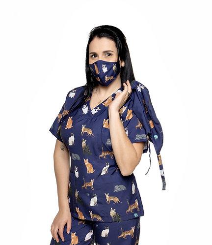 Blusa cirúrgica/Scrub VM031G. Ganha 1 Máscara e Nome/Profissão