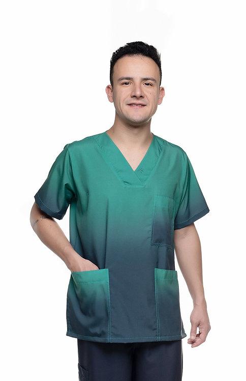 Blusa cirúrgica/Scrub Degradê 027 Ganha nome e profissao