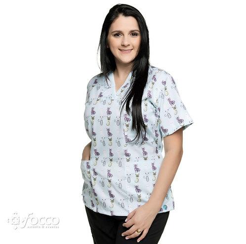 Blusa cirúrgica/Scrub VM003G Ganha 1 Mascara e Nome/Profissão