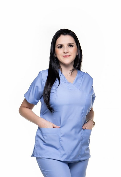 Blusa Cirúrgica Lisa 007 Azul Celeste Ganha 1 Mascara e Nome/Profissão