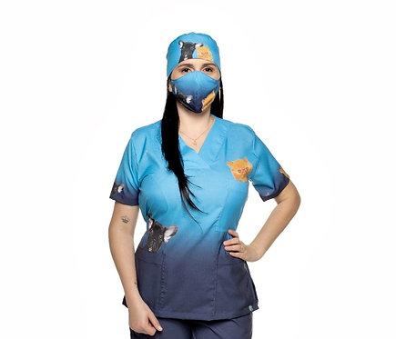 Blusa cirúrgica/Scrub VM050CG Ganha 1 Máscara e Nome/Profissão