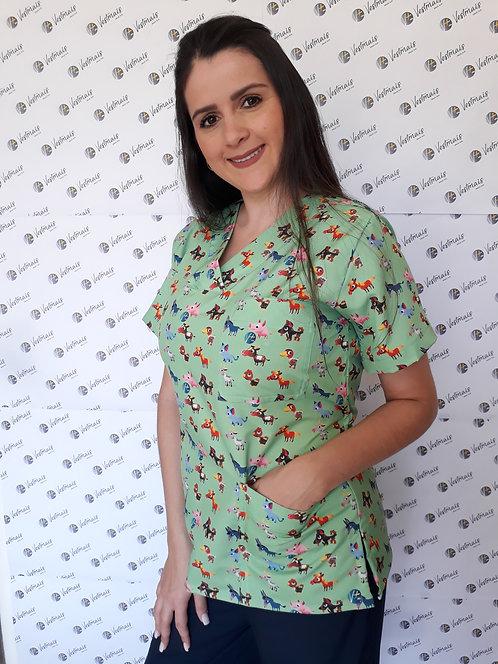 Blusa cirúrgica/Scrub VM001F Ganha nome e profissao