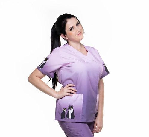 Blusa Cirúrgica/Scrub Degradê 044 Ganha 1 Mascara e Nome/Profissão