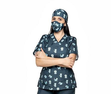 Blusa cirúrgica/Scrub VM039CG. Ganha 1 Mascara e Nome/Profissão