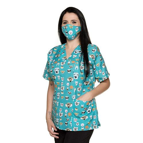 Blusa cirúrgica/Scrub VM016C Ganha 1 Mascara e Nome/Profissão