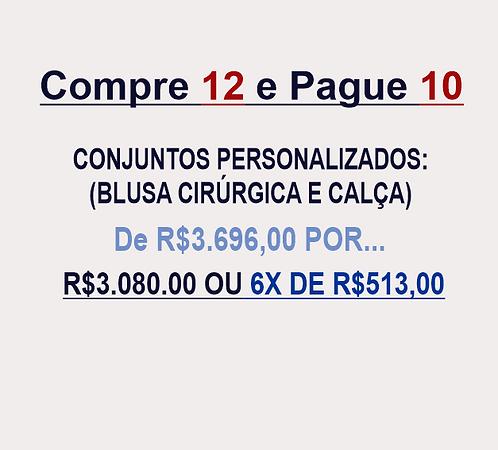 12 e pague10 Conjuntos Personalizados (Blusa Cirúrgica+Calça)