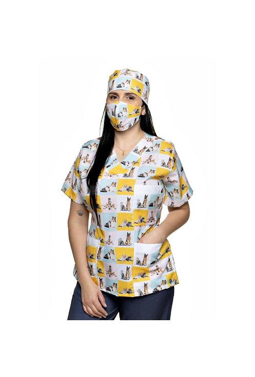 Blusa cirúrgica/Scrub VM012CG. Ganha 1 Mascara e Nome/Profissão