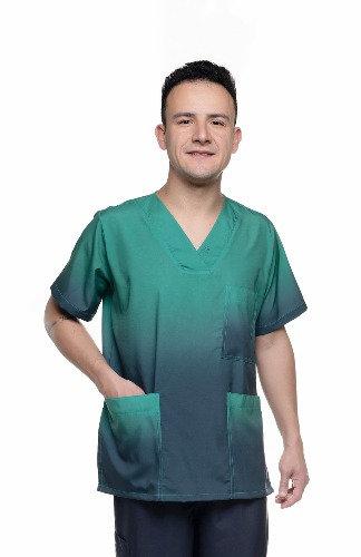 Blusa cirúrgica/Scrub degradê 027 Ganha 1 Máscara e Nome/Profissão