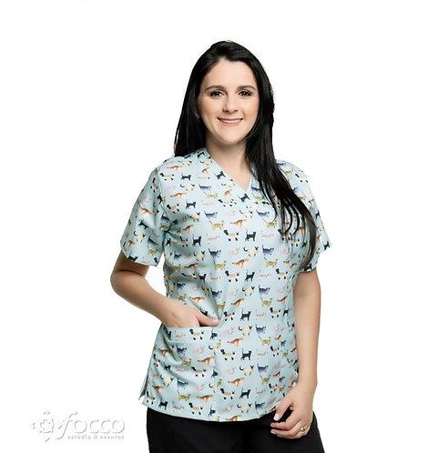 Blusa cirúrgica/Scrub VM015G Ganha 1 Mascara e Nome/Profissão