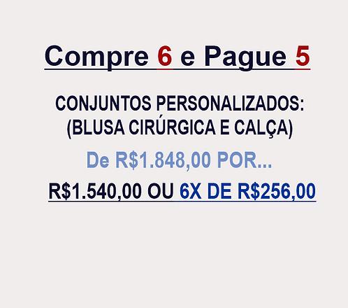 Compre 6 e pague 5 Conjuntos Personalizados (Blusa Cirúrgica+Calça)