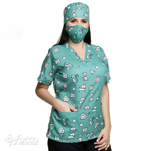 Blusa cirúrgica/Scrub VM011CG Ganha 1 Mascara e Nome/Profissão