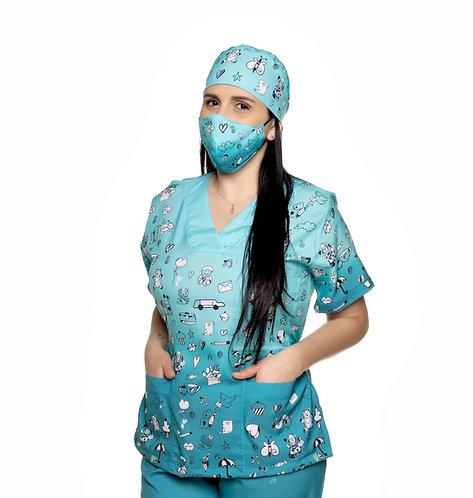 Blusa cirúrgica/Scrub VM04 Pediatria. Ganha 1 Máscara e Nome/Profissão
