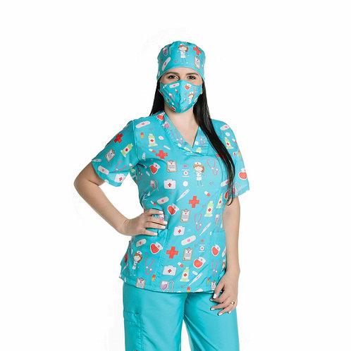 Conjunto Hospitalar VM04 (Blusa e Calça) Ganha 1 Mascara e Nome/Profissão
