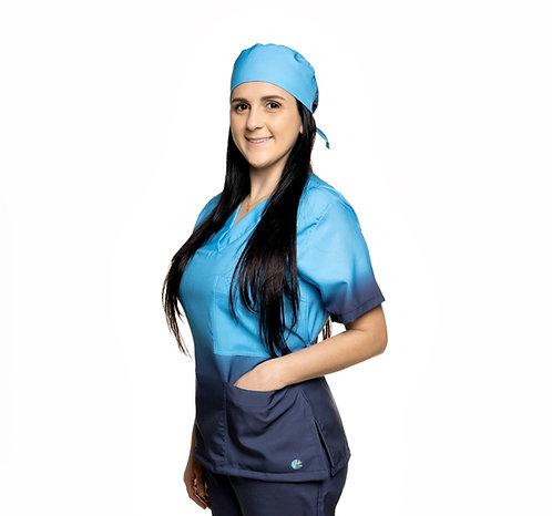 Blusa cirúrgica/Scrub VM052 Degradê. Ganha 1 Máscara e Nome/Profissão