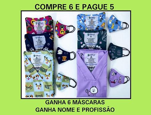 COMPRE 6 E PAGUE 5 Blusas cirúrgicas/Scrubs. Ganha 6 Máscaras e Nome/Profissão