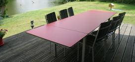 Table rectangulaire pieds droits inox à rallonges