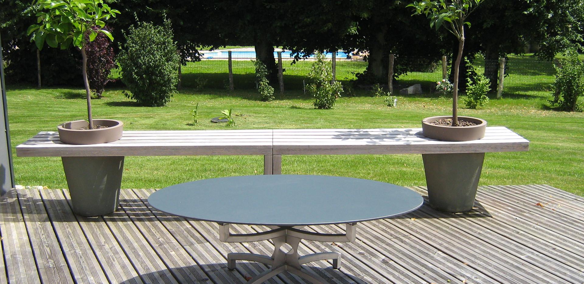 Table basse ovale pietement cintré/croisé