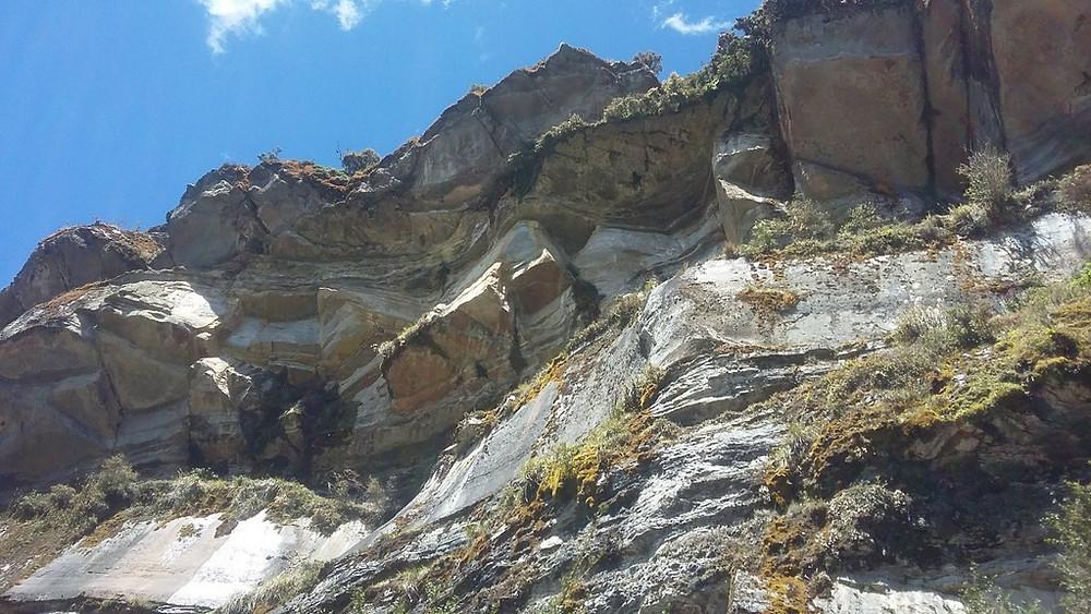 Geologic layers in Chingaza