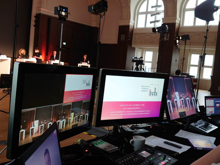Hybride Online Tagung eines Industrieverbandes im Musiksaal Besenbinderhof