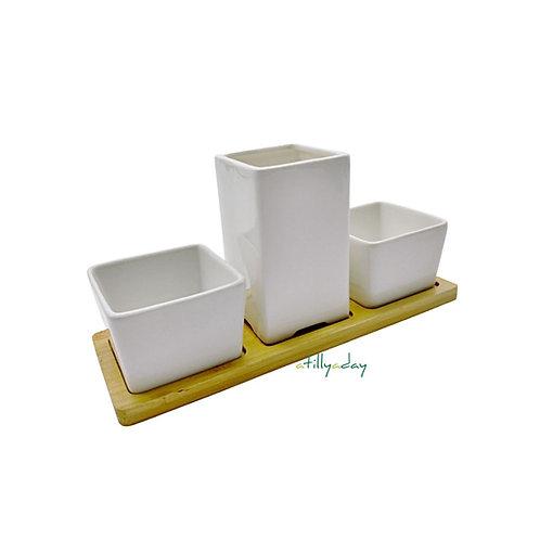 Set of 3 Porcelain Pot with Bamboo Base