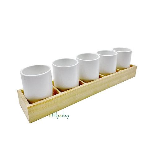 Set of 5 Cylindrical Porcelain Pot with Base Holder