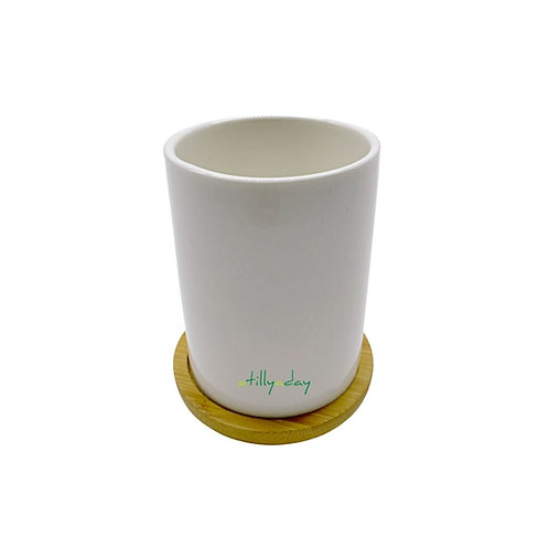 Cylindrical Porcelain Pot with Bamboo Base