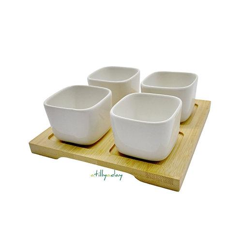 Set of 4 Mini Square Porcelain Pot with Bamboo Base