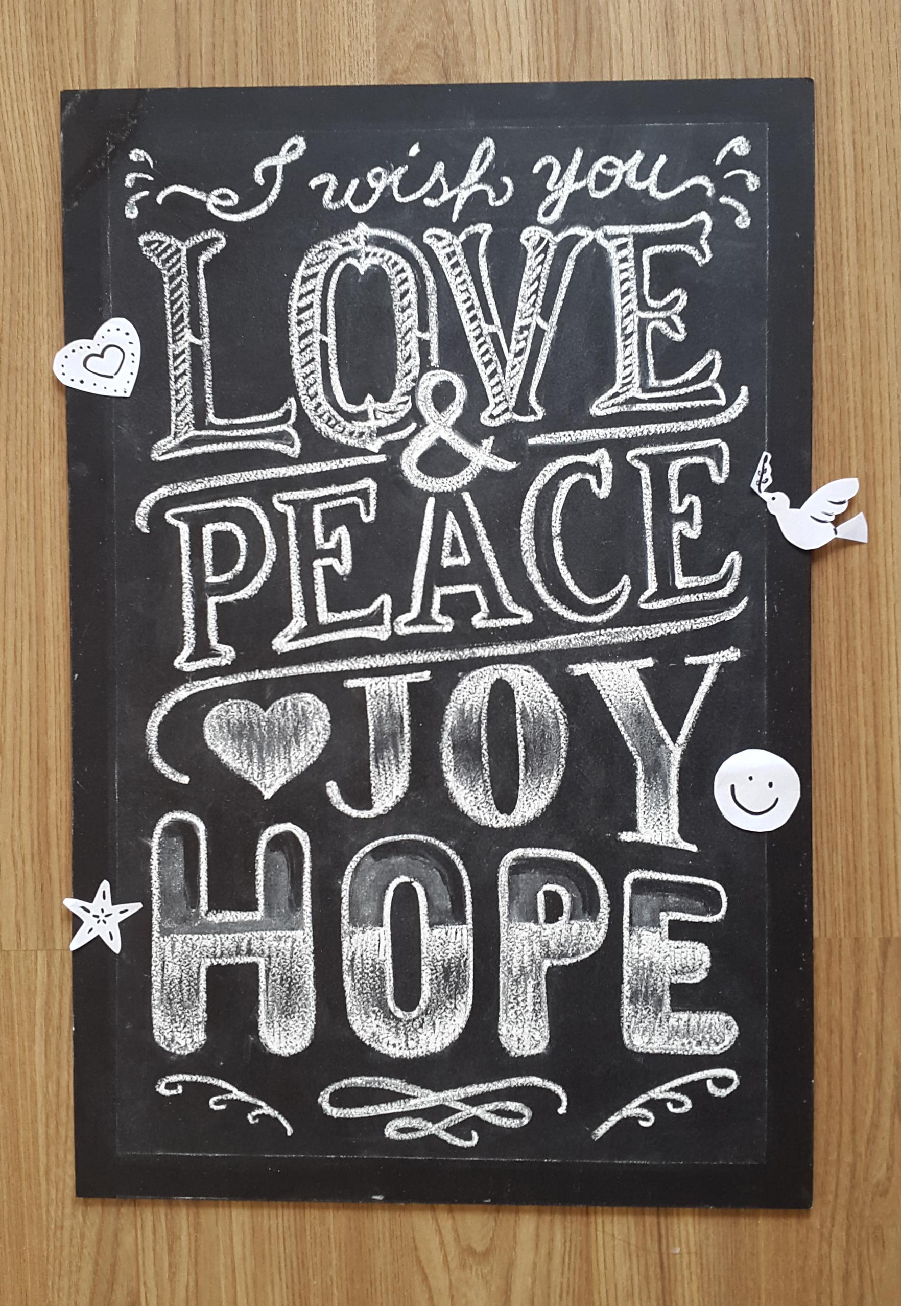 Chalkboard Love & Peace - Em giz