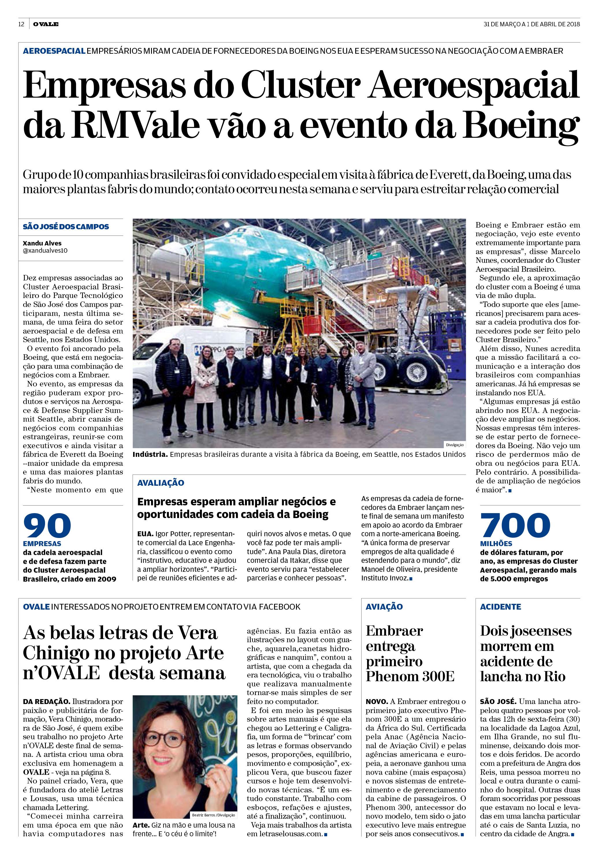 Matéria - Jornal OVALE - 30.3.2018