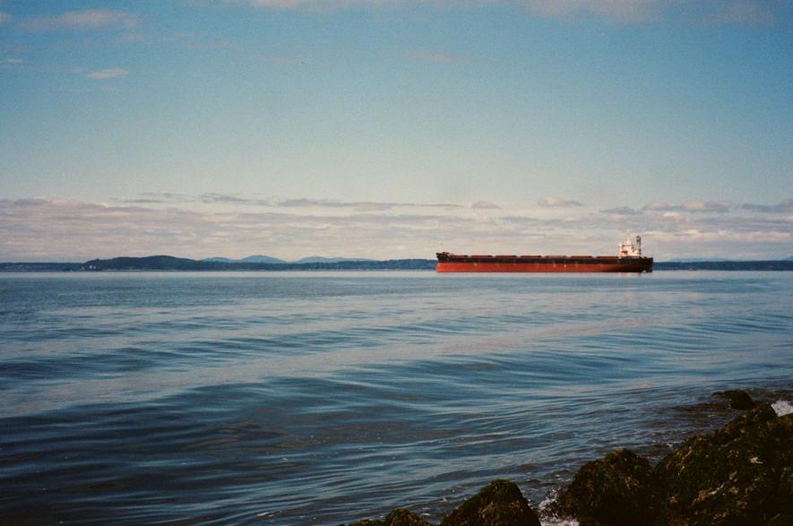 Freight boat in Elliott Bay, Seattle.