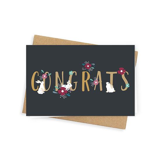 Congrats greeting card, black