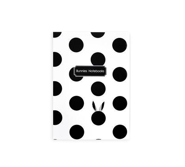 notebook, soft cover, black and white dots and bunnies ears