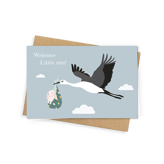 Little one greeting card, blue