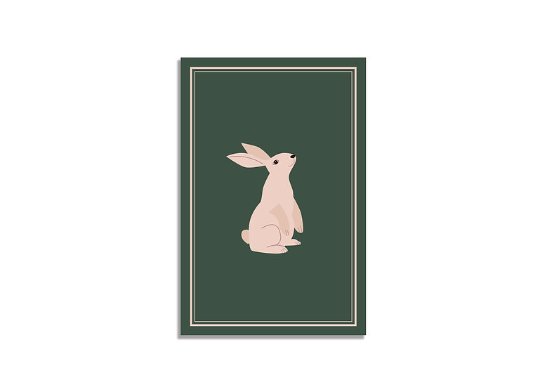 Postcard 15*10 CM green bunny