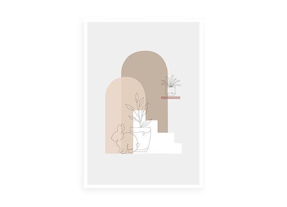 Print, one line bunny