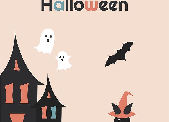Halloween Greeting card_Ghost house