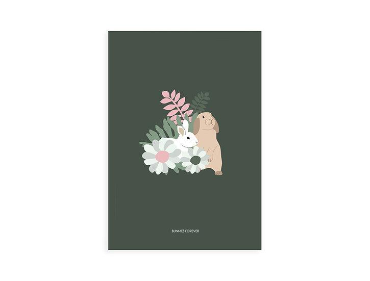 Print, 2 bunnies & flowers, green