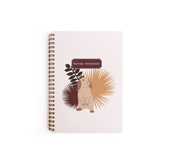 Gold spiral cover notebook, loop bunny&yellow colors