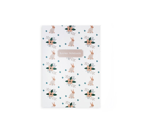 Notebook, Soft Cover, Bunnies pattern